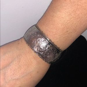 Silver Metal Floral Cuff